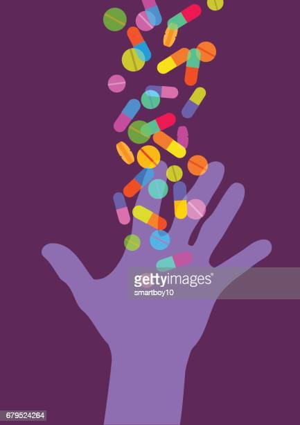hand reaching for pills - recreational drug stock illustrations, clip art, cartoons, & icons