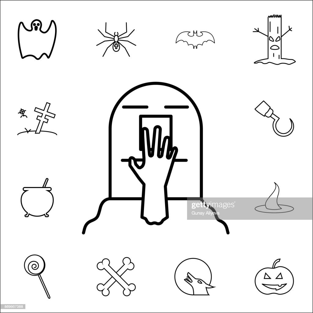 Hand reaching from the grave icon. Set of Halloween icons