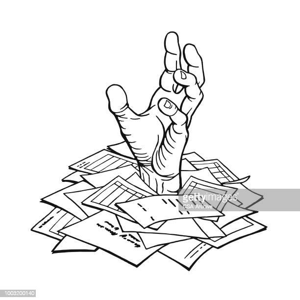 hand reaching out of papers - buried stock illustrations, clip art, cartoons, & icons