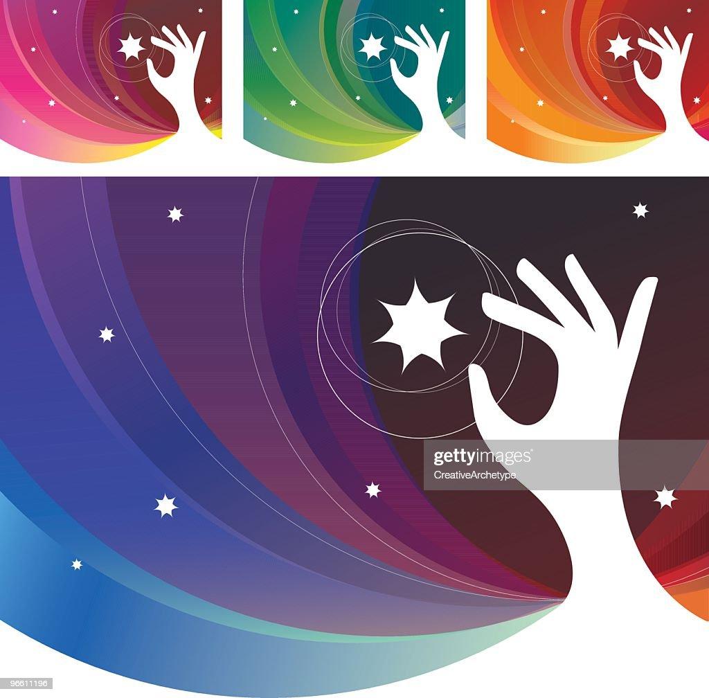 Hand Reaching Sky - Stars