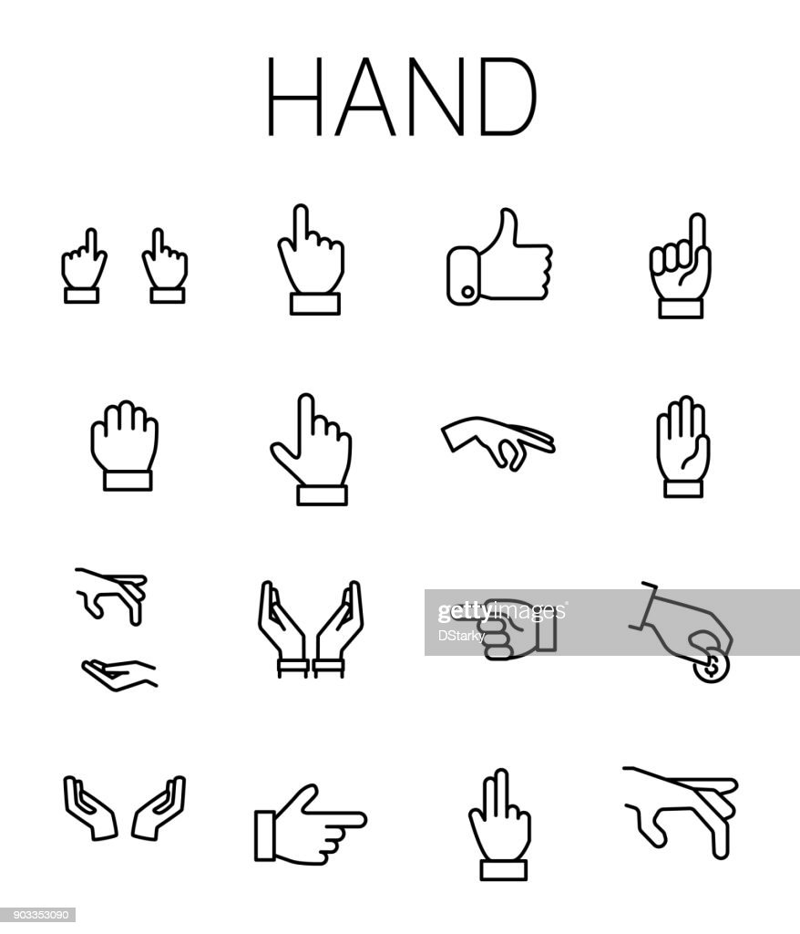 Hand related vector icon set.