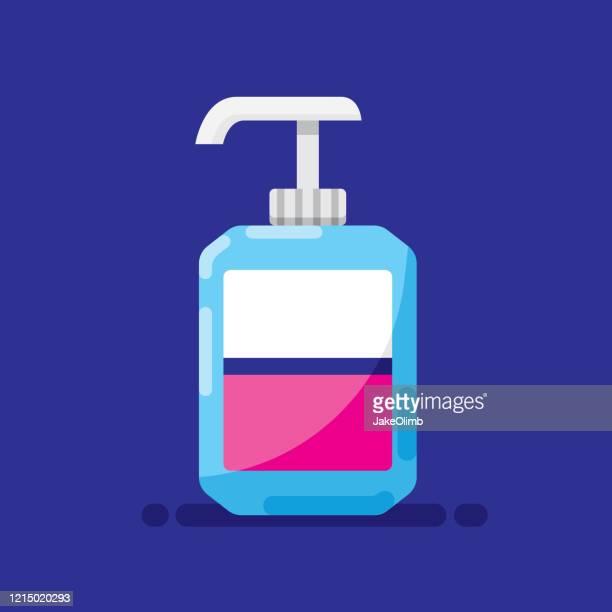 hand sanitizer bottle icon flat - hand sanitizer stock illustrations