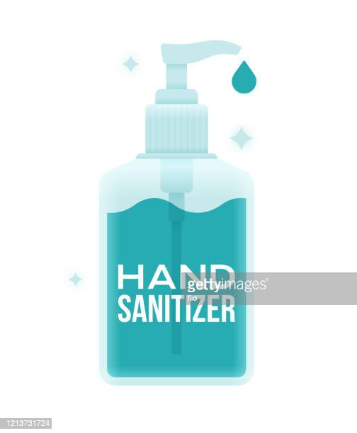 hand sanitizer gel bottle - rubbing alcohol stock illustrations