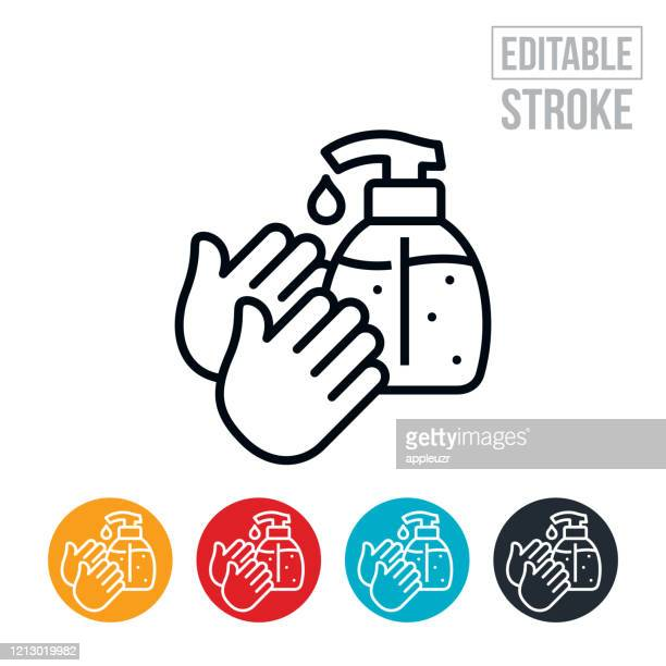 hand sanitizer thin line icon - editable stroke - washing hands stock illustrations