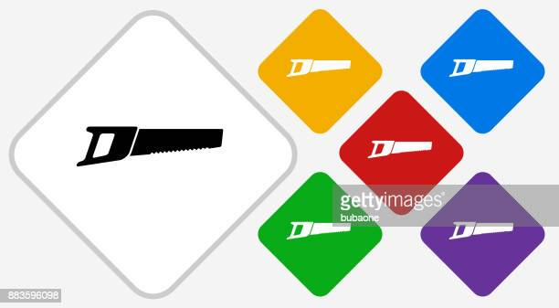 hand saw color diamond vector icon - serrated stock illustrations, clip art, cartoons, & icons