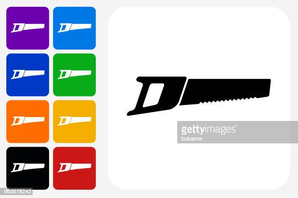 hand saw icon square button set - serrated stock illustrations, clip art, cartoons, & icons