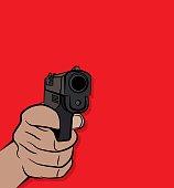 Hand Shooting a Pistol Illustration