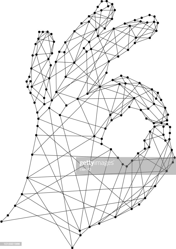 Hand showing OK sign on white background from polygonal black lines and dots. Vector illustration.