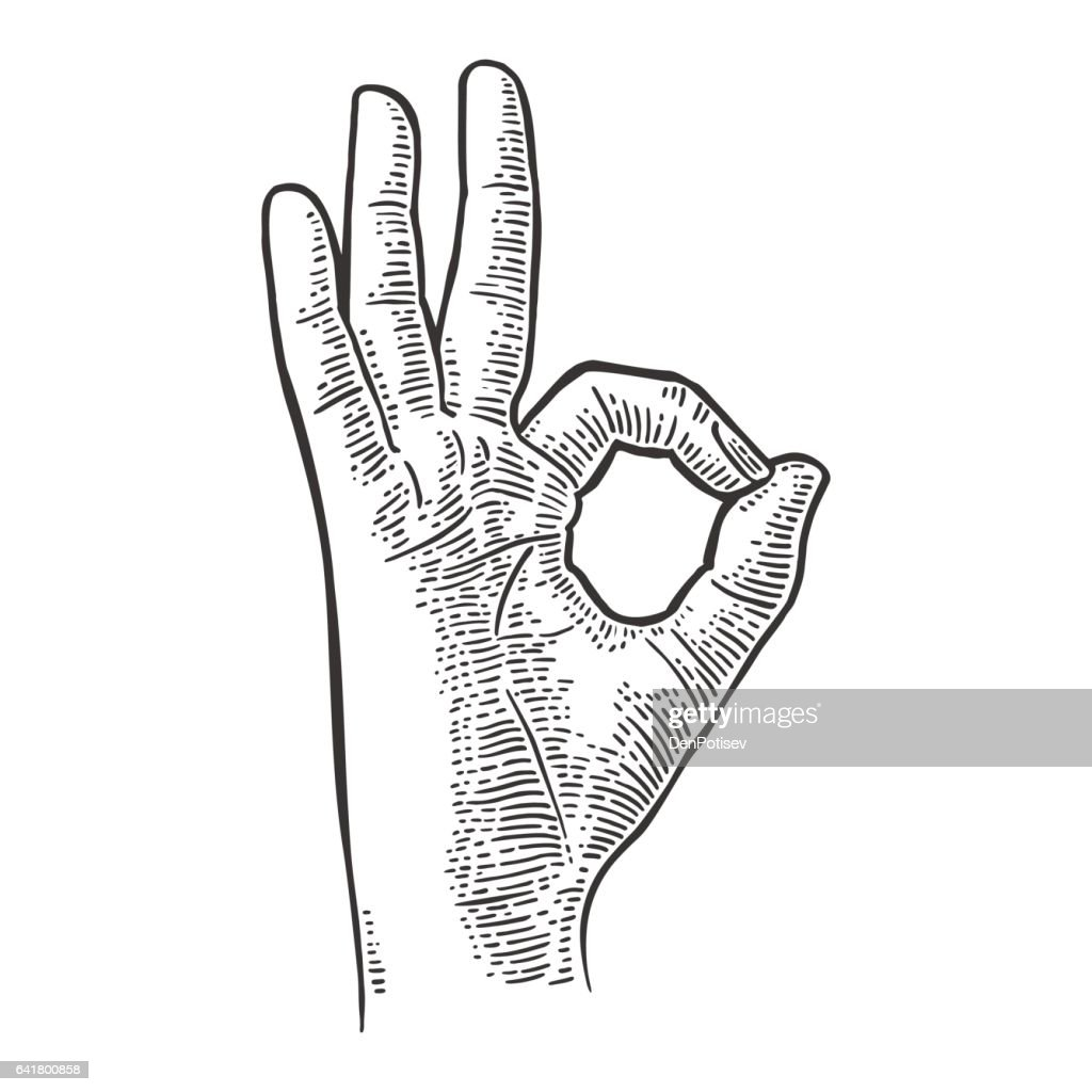 Hand showing symbol okay. Vector black vintage engraved