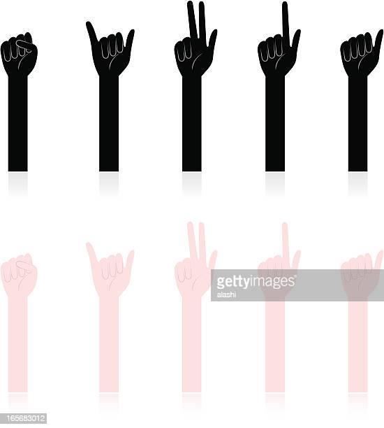 Handzeichen: Hände zählen