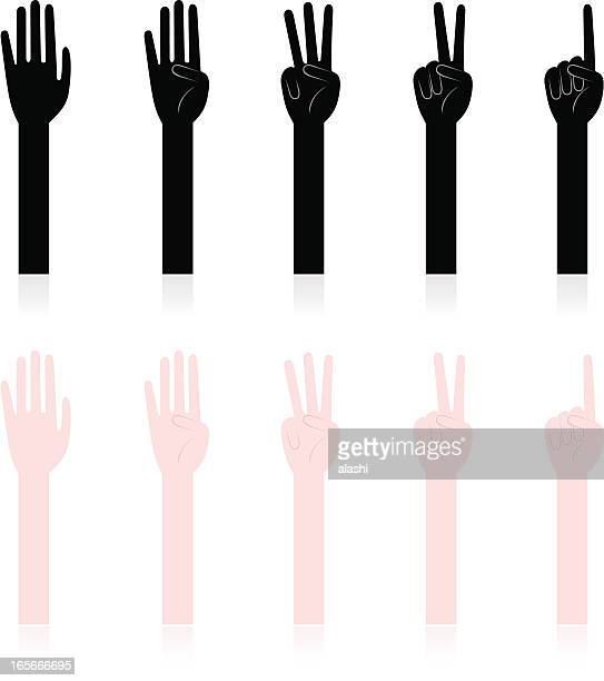 hand sign: counting hands,one, two, three, four, five - counting stock illustrations
