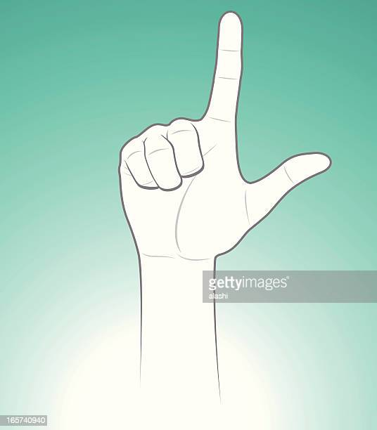 l hand sign for love or loser - sign language stock illustrations, clip art, cartoons, & icons