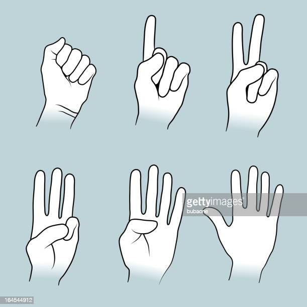 hand sign gestures collection - counting stock illustrations