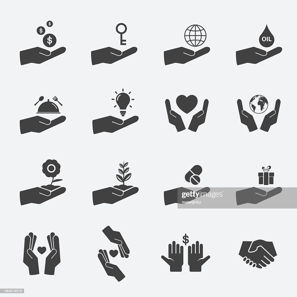 hand sign icon set.