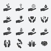 hand sign icon set.
