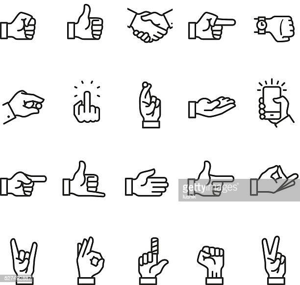 hand sign icon - peace sign stock illustrations, clip art, cartoons, & icons