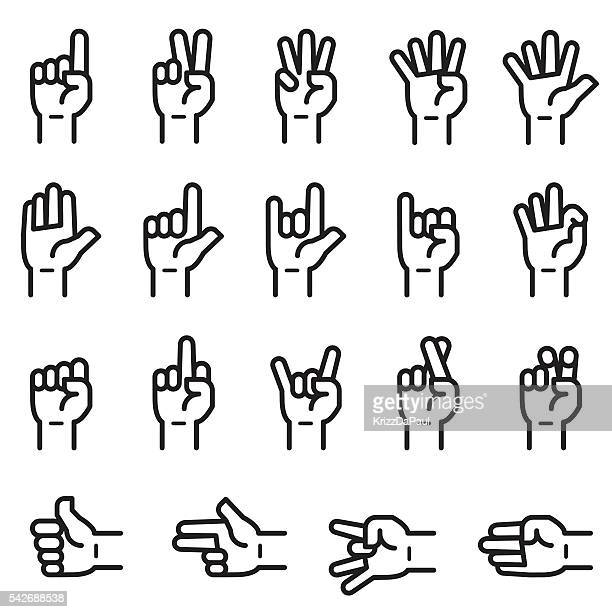 hand sign icons - counting stock illustrations