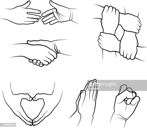 hand signs gestures black and white royalty-free vector icon set - holding hands stock illustrations