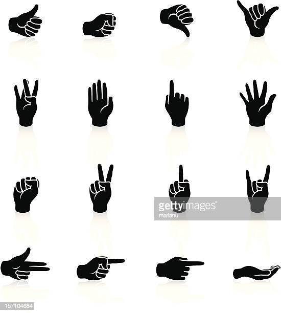 hand signs icons - black series - peace sign stock illustrations, clip art, cartoons, & icons
