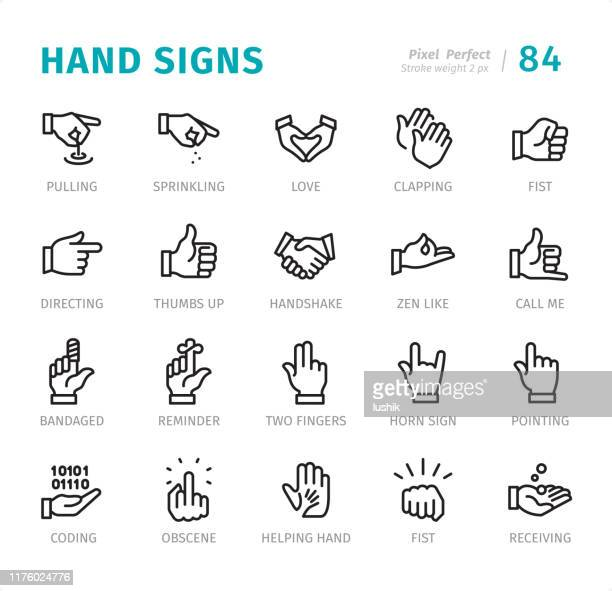 hand signs - pixel perfect line icons with captions - reminder stock illustrations