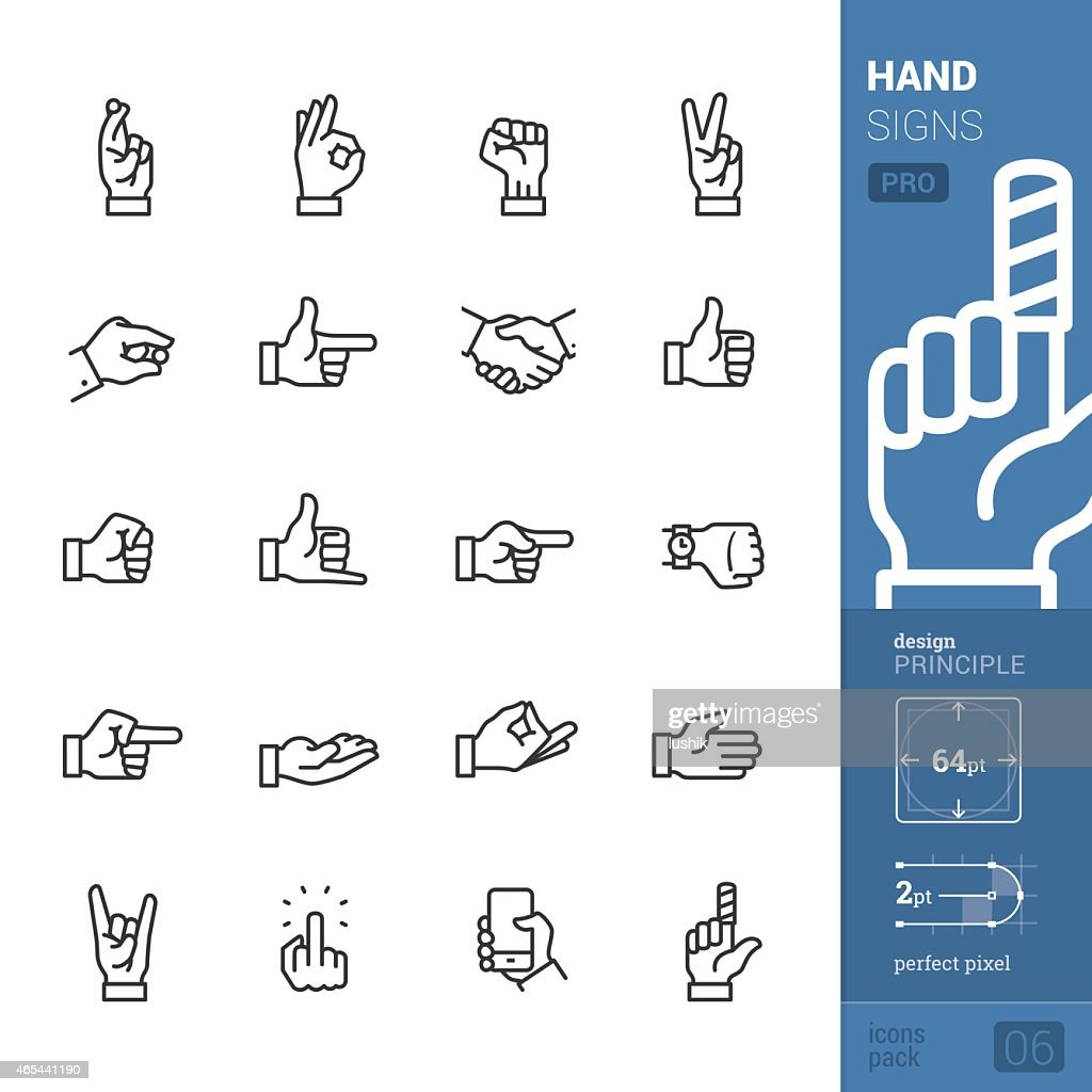 Hand signs vector icons - PRO pack : stock illustration