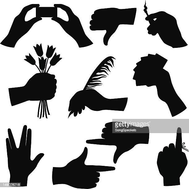 hand silhouette collection - vulcan salute stock illustrations