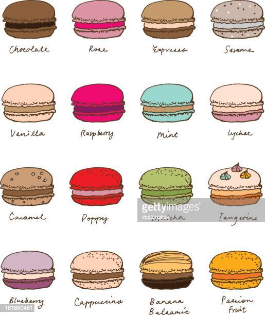 hand sketch assorted macaroon - macaroon stock illustrations, clip art, cartoons, & icons
