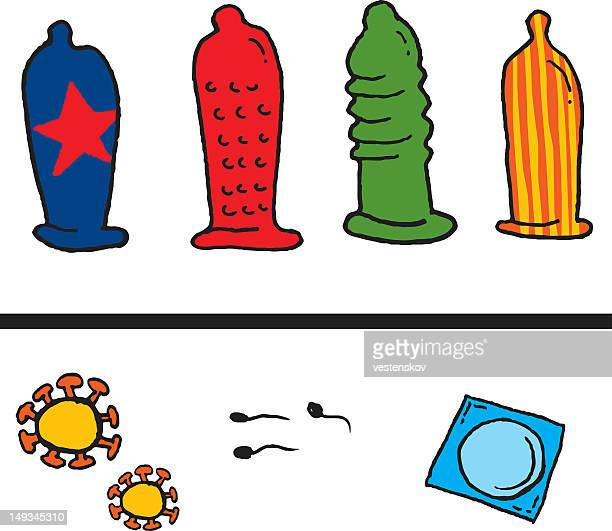 hand sketch condom hiv virus and sperm - condom stock illustrations