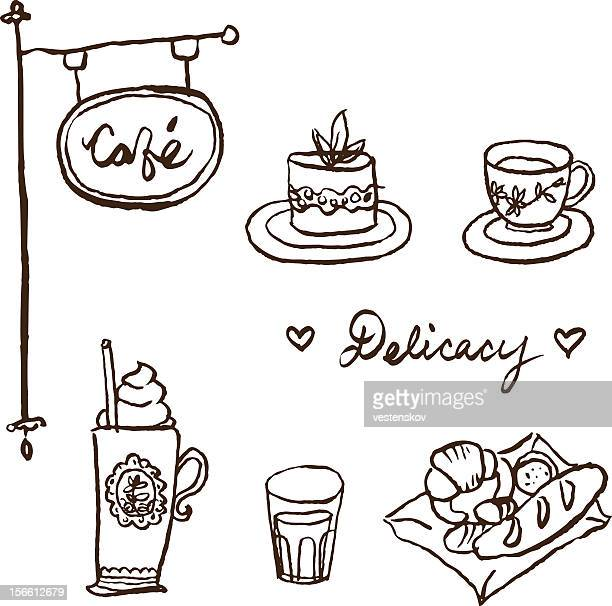 hand sketch european cafe cake bread and drinks - bun bread stock illustrations, clip art, cartoons, & icons