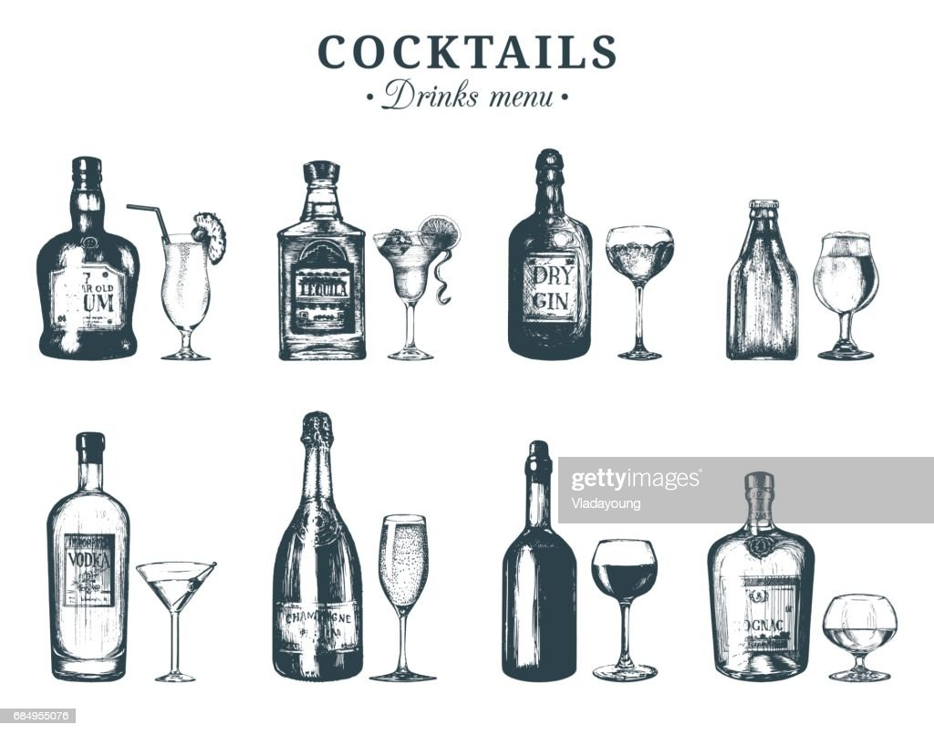 Hand sketched bottles and glasses of alcoholic beverages. Vector set of drinks and cocktails. Restaurant, cafe, bar menu illustrations:rum,tequila,margarita,gin tonic, beer,vodka,champagne,cognac etc.