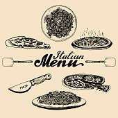 Hand sketched italian menu. Vector set of drawn mediterranean food elements with lettering in ink style.