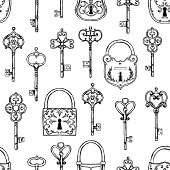 Hand sketched vector illustration - seamless pattern with vintage keys and locks. Design elements with decorative symbols. Medieval keys. Perfect for invitations, greeting cards, textiles, prints, posters etc