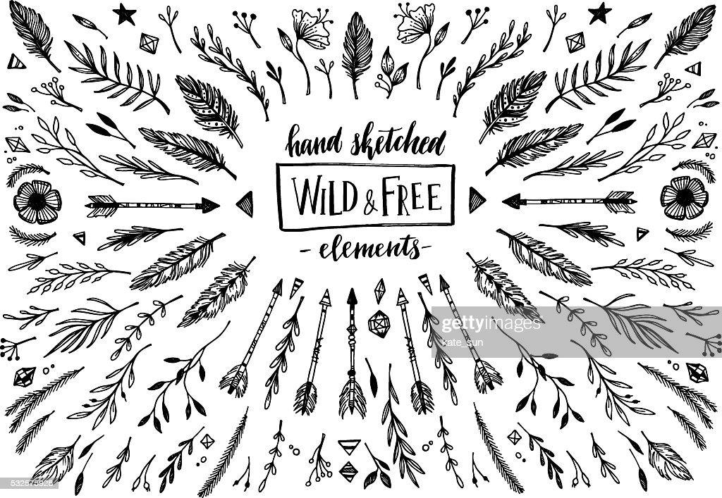Hand sketched vector vintage elements