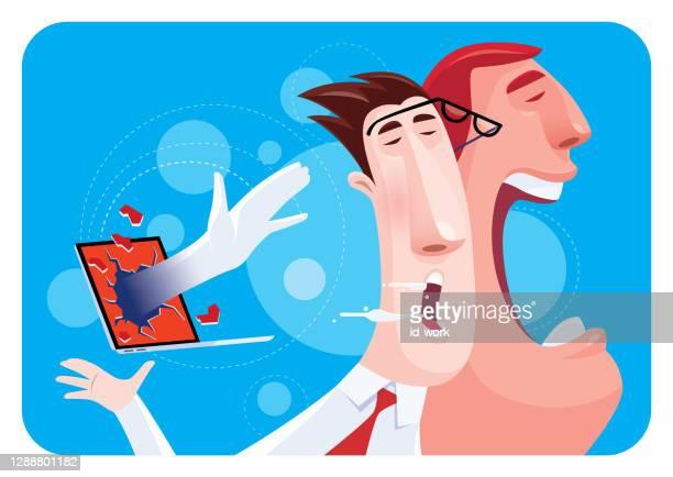 stockillustraties, clipart, cartoons en iconen met hand die zakenman via laptop slaat - karikatuur