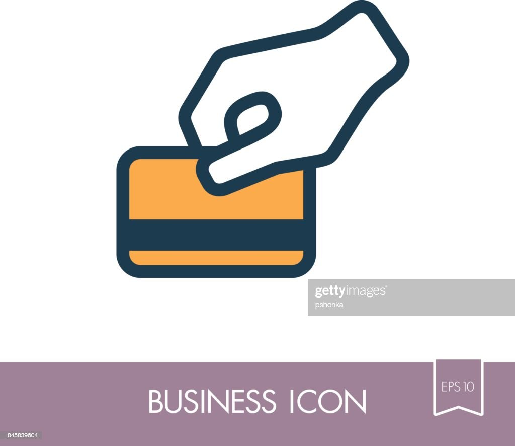 Hand swipe credit card during purchase icon