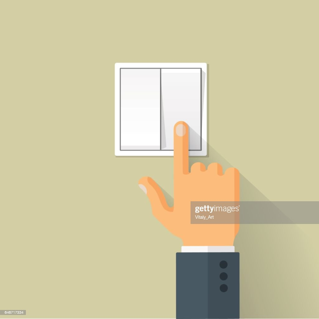 Hand Switch Toggle Flat Style Vector Illustration