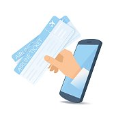 A hand through the phone's screen holds an airline tickets.
