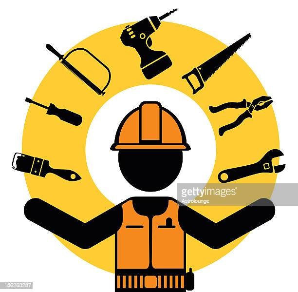 hand tools and worker - tool belt stock illustrations, clip art, cartoons, & icons