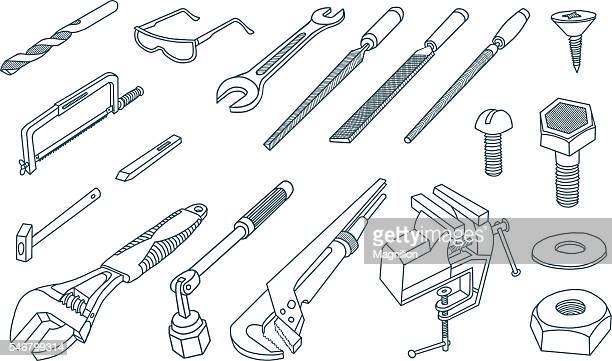 Hand tools hand-drawing vector