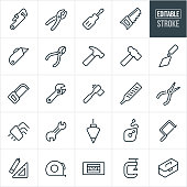 Hand Tools Thin Line Icons - Editable Stroke