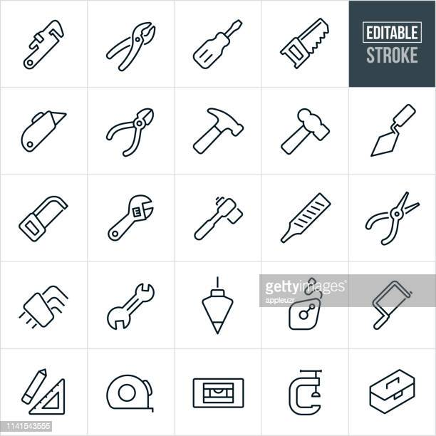 hand tools thin line icons - editable stroke - work tool stock illustrations