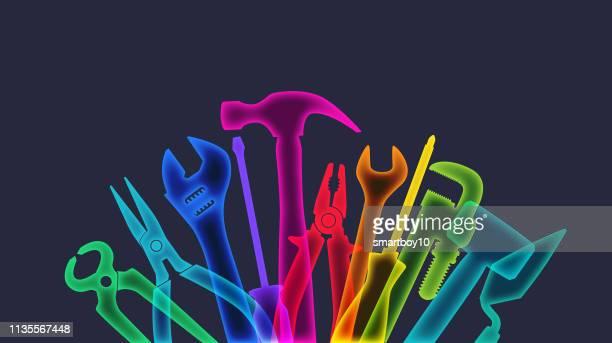 ilustraciones, imágenes clip art, dibujos animados e iconos de stock de herramientas de mano - caja de herramientas