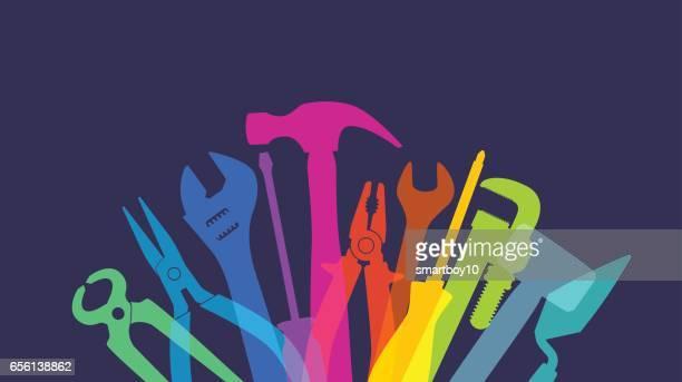 ilustraciones, imágenes clip art, dibujos animados e iconos de stock de bricolaje herramientas de mano - bricolaje