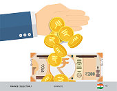 Hand tosses coins near 200 Indian Rupee Banknote. Flat style vector illustration. Finance concept.