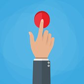 Hand touch button vector illustration.