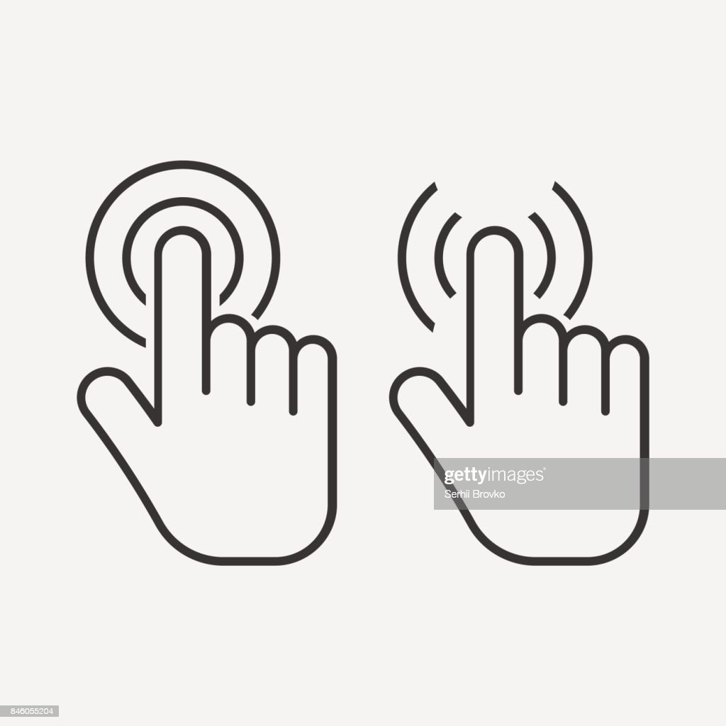 Hand touch icon. Click icon. isolated on background. Vector illustration.