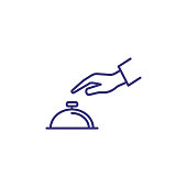 Hand touching bell service line icon