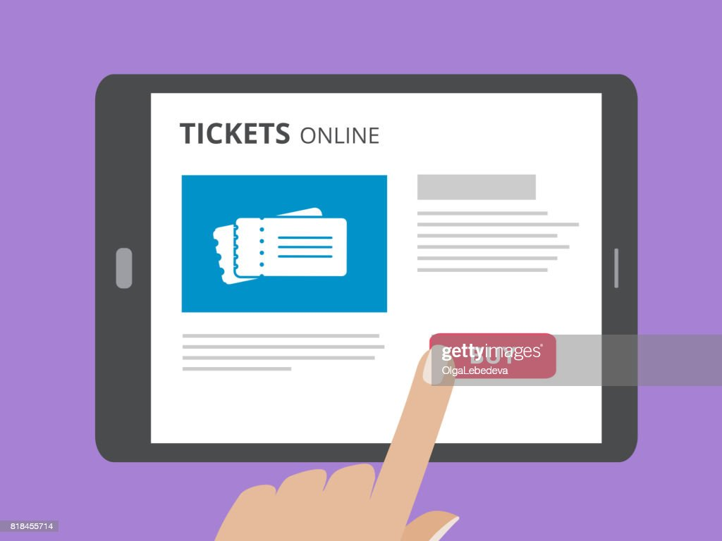 Hand touching screen of tablet computer with buy button and tickets icon on screen. Concept of online tickets mobile application.