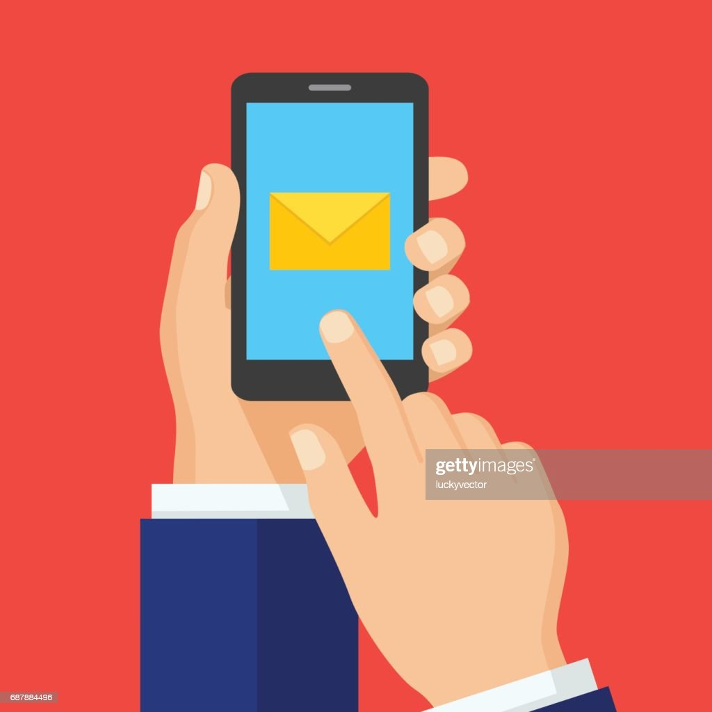 Hand Touching Smart Phone With Email Symbol On The Screen Vector Art
