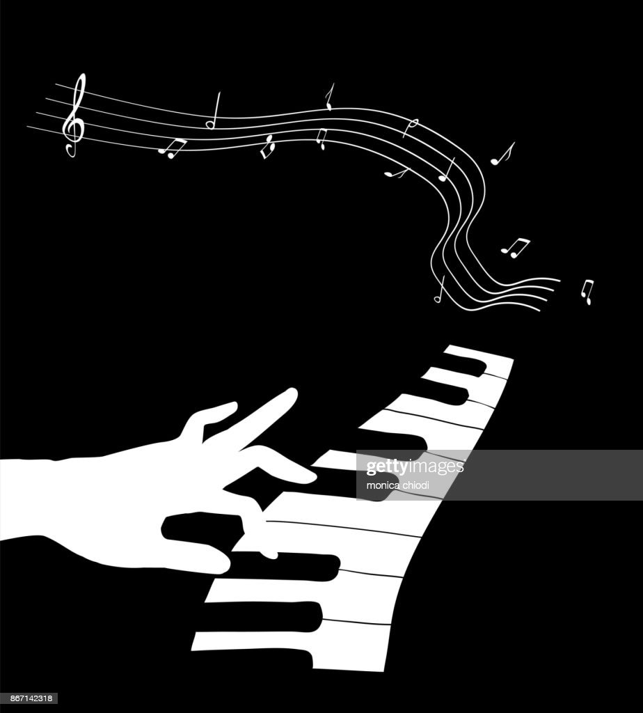 Hand Touching The Keyboard Of A Piano Vector Art
